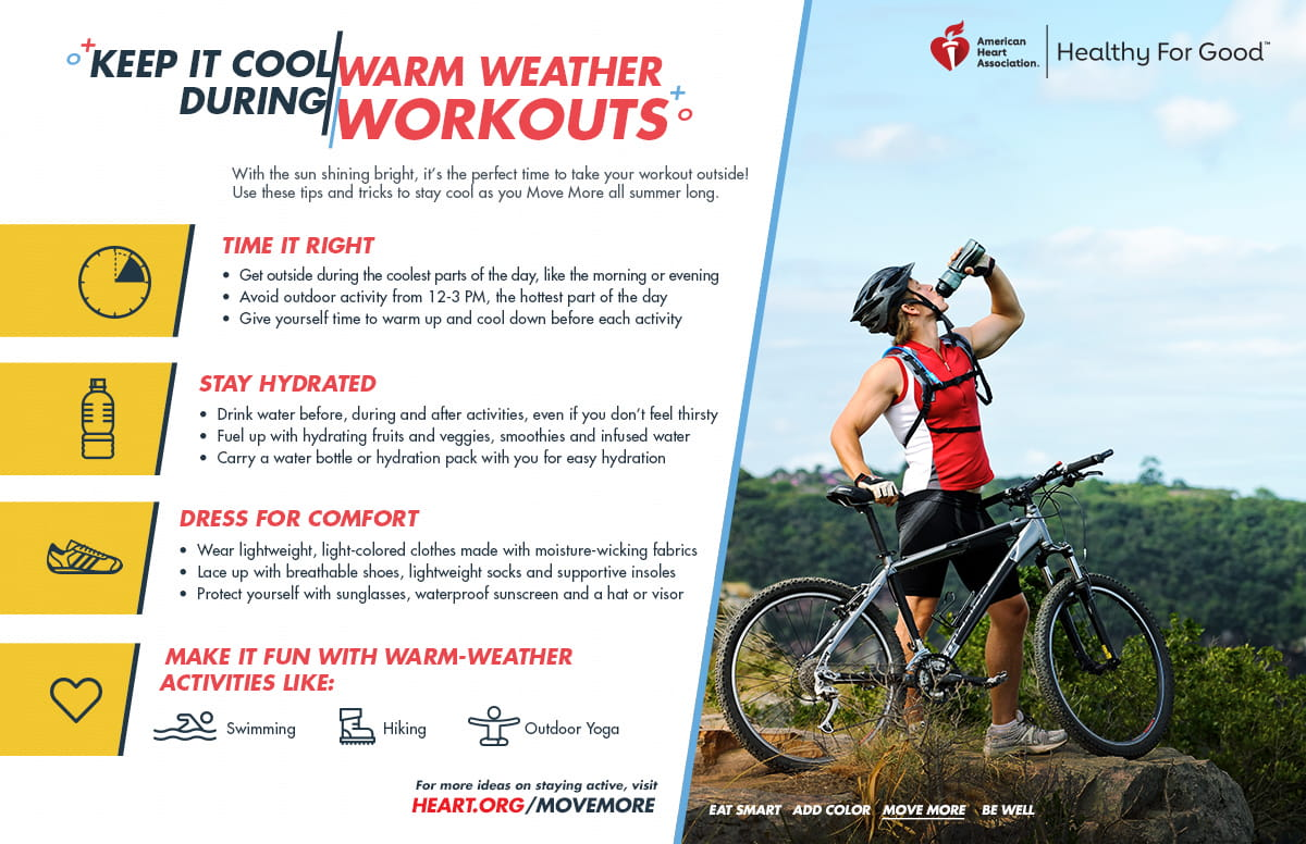 fitness  american heart association how to keep cool during warm weather workouts