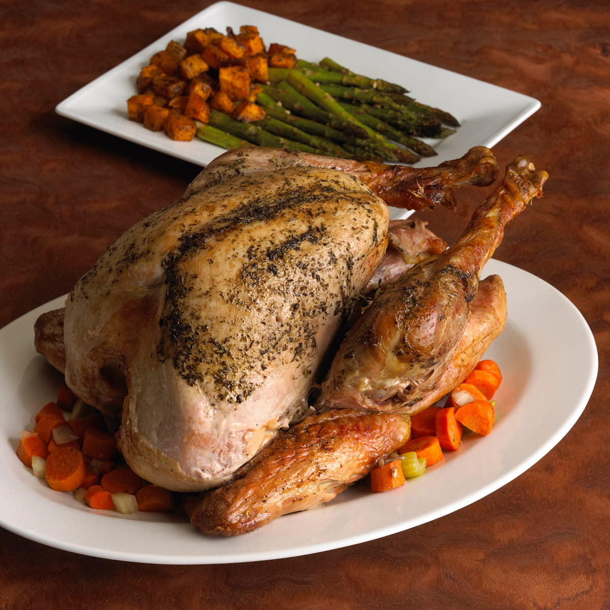 Mom's Roasted Turkey with Butternut Squash and Asparagus