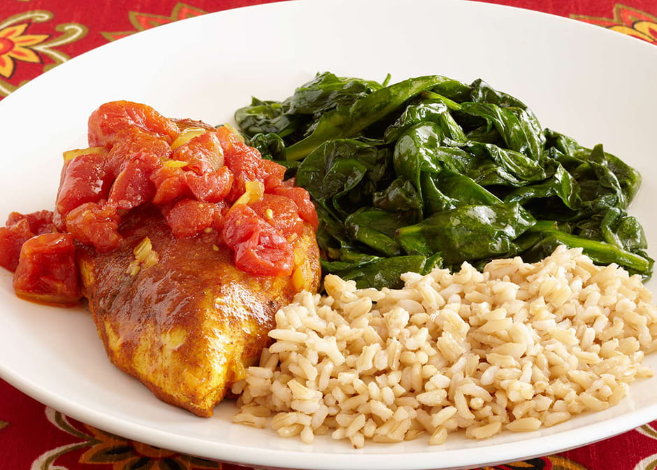 Moroccan Chicken With Brown Rice And Lemon Sauteed Spinach