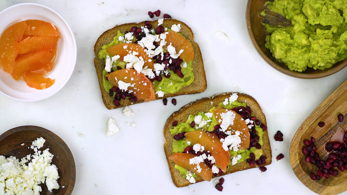 Pomegranate grapefruit avocado toast