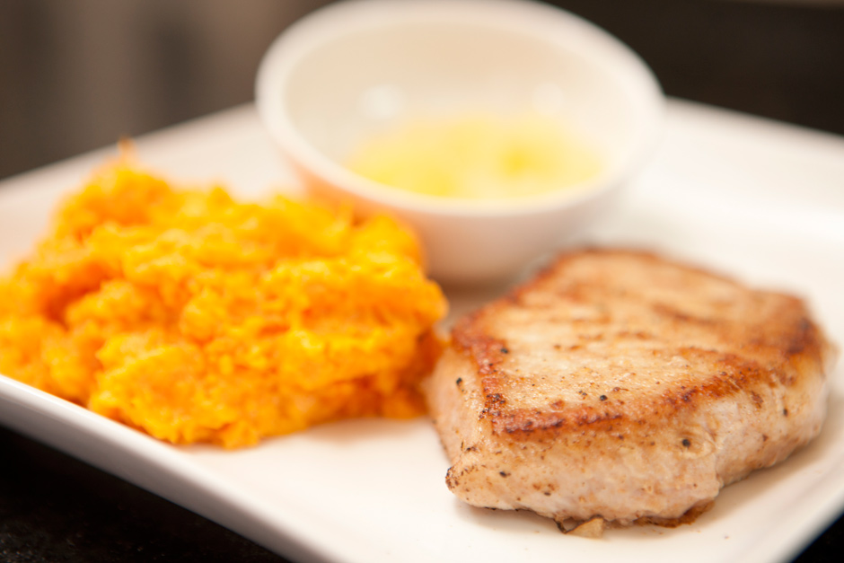 Pan-Fried Pork-Chop with Mashed Sweet Potatoes | American Heart