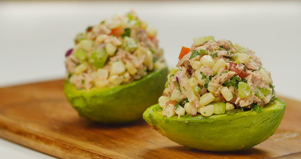 tuna stuffed avocados with corn salsa