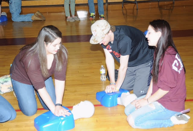 Ashley Dumais at her high school's CPR training event in April.