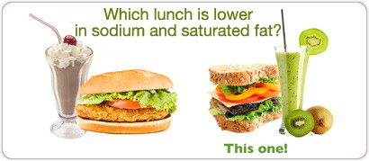 Which lunch is lower in sodium and saturated fat?