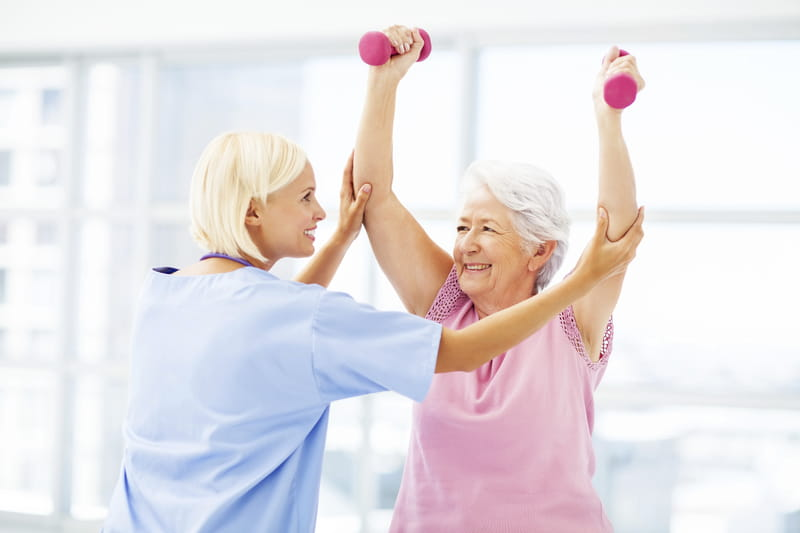 Older Woman Participates in Cardiac Rehab