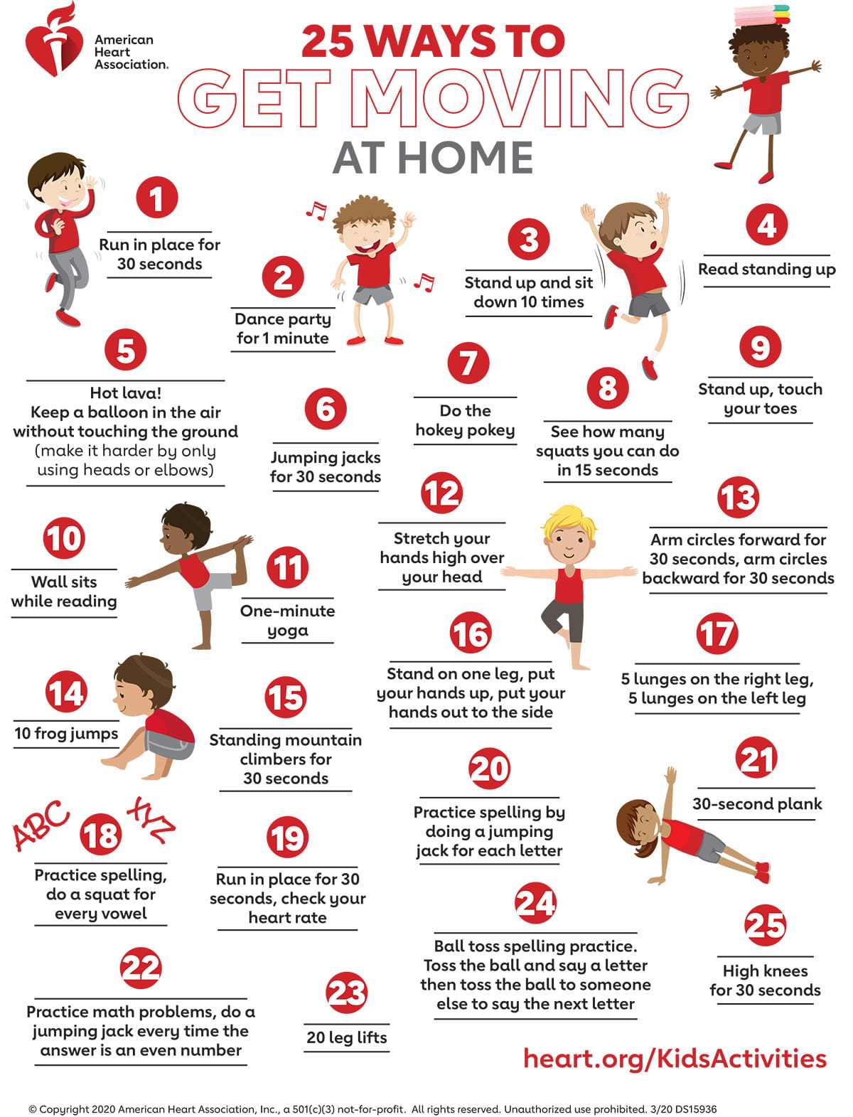 25 Ways to Get Moving at Home Infographic | American Heart Association