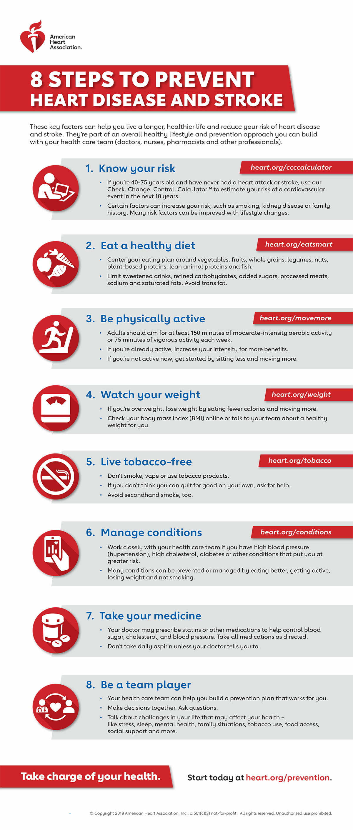 8 steps to prevent heart disease and stroke