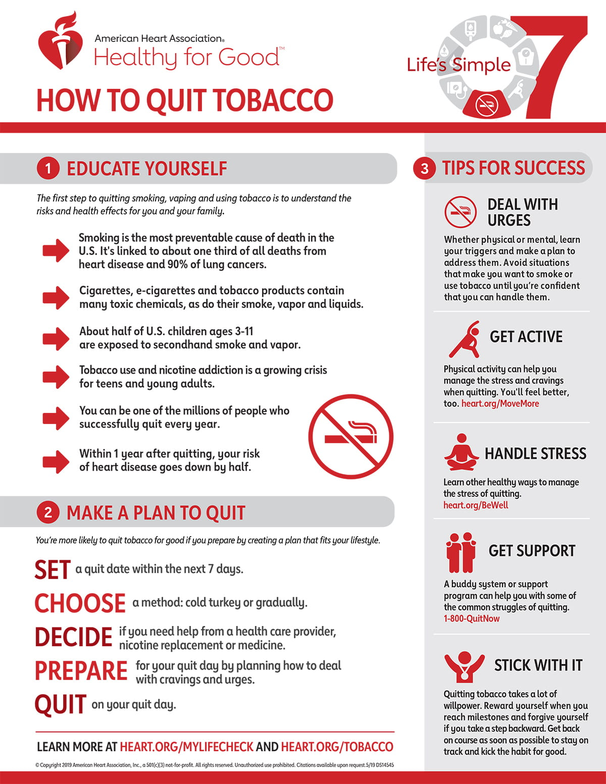 5 Simple Tips For Better People Pictures: Life's Simple 7 Quit Smoking Infographic