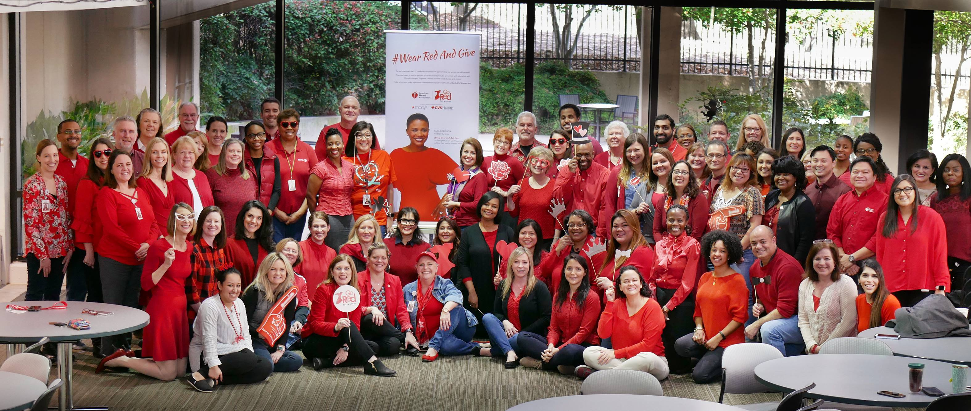Wear Red and Give Large Gathering of Employees Wearing Red