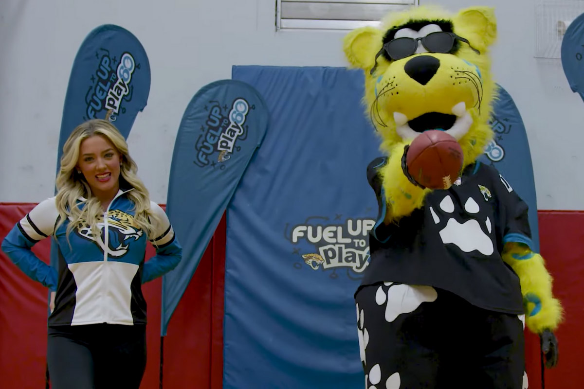 mascot with woman