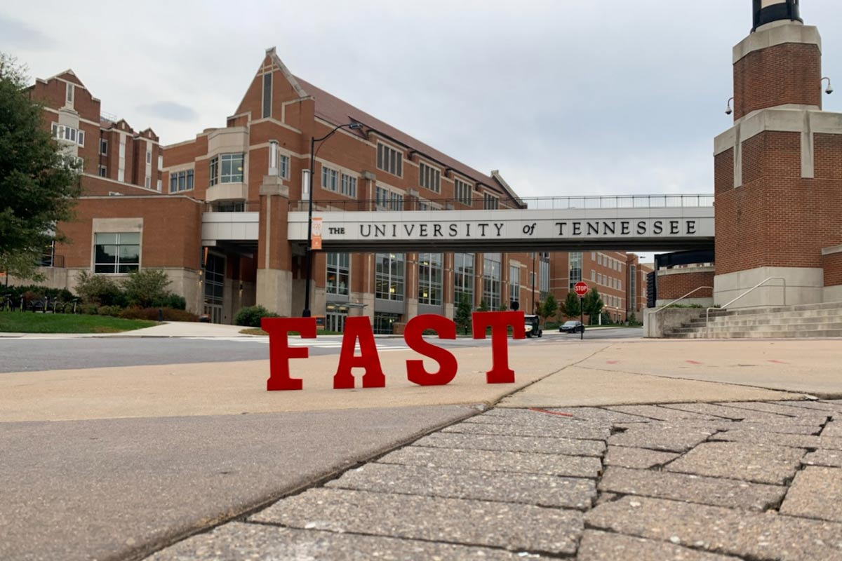 FAST letters in front of University of Tennessee sign