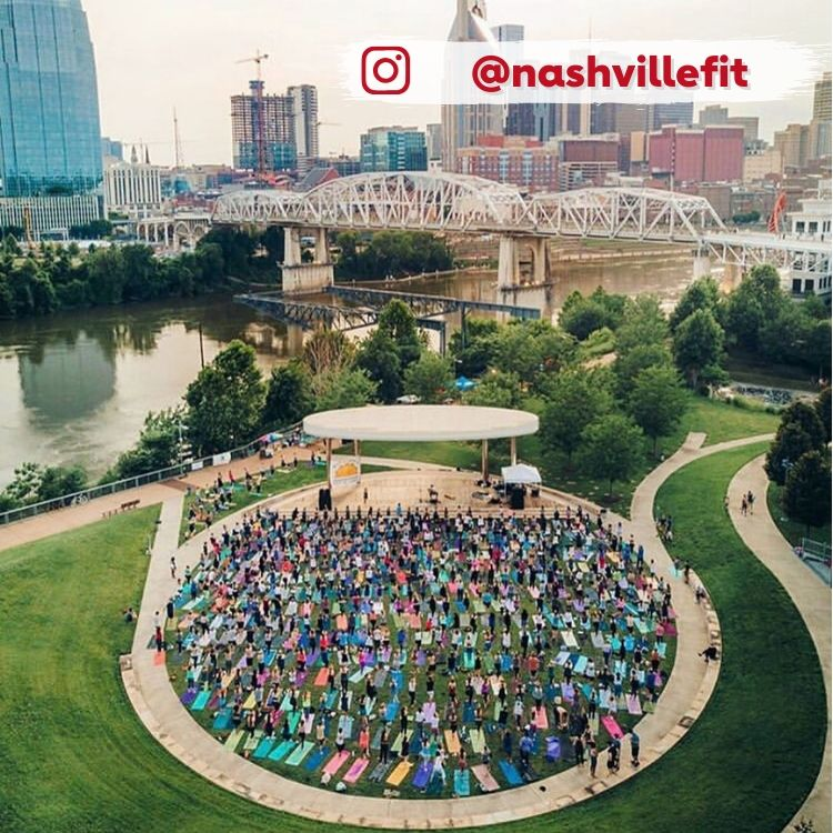 aerial view of crowd practicing yoga in downtown Nashville
