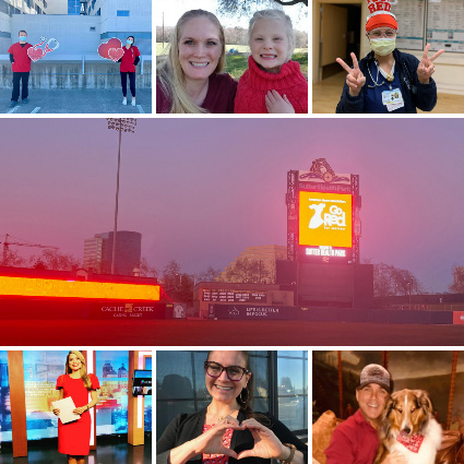 collage of people and places in Sacramento celebrating Wear Red Day