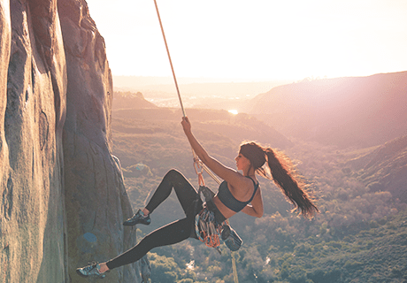 female rock climber in San Diego