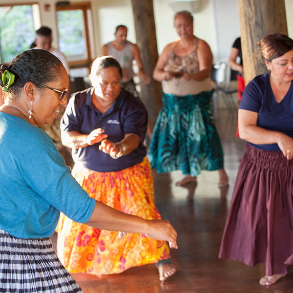 Hula instructor leading class