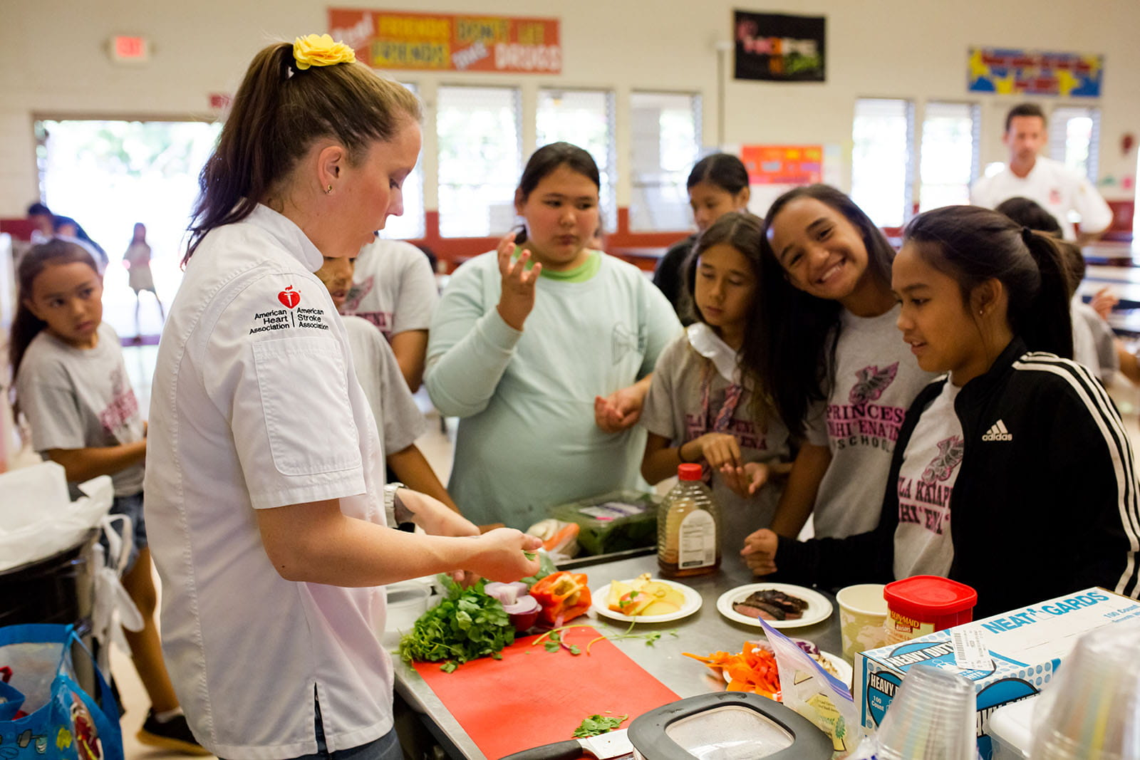 Maui Kids Cook With Heart Chef Betty with kids