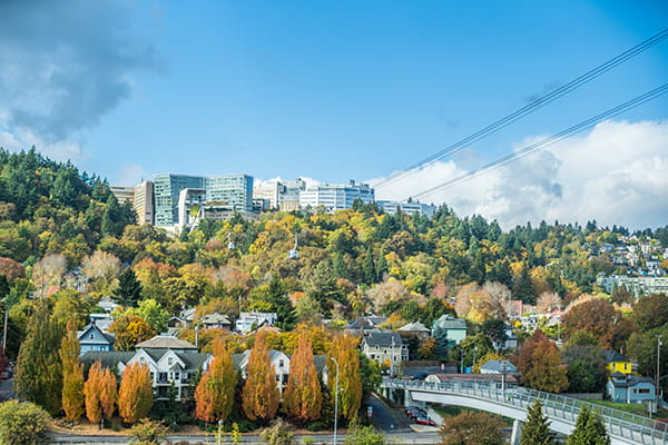 View of OHSU on Marquam Hill from south waterfront campus