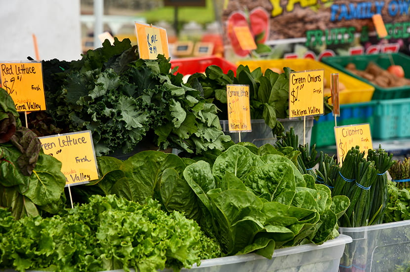 Produce stands at market with various kinds of lettuce and signs.