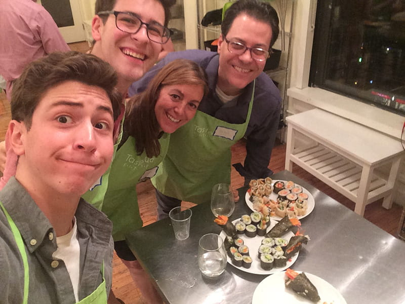 The Elkind family cooking together, from left: Liam, Zachary, Rachel and Mitch Elkind.