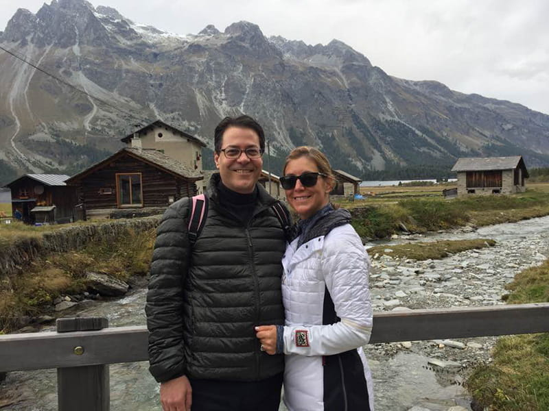 Mitch Elkind hiking in Switzerland with his wife, Rachel.