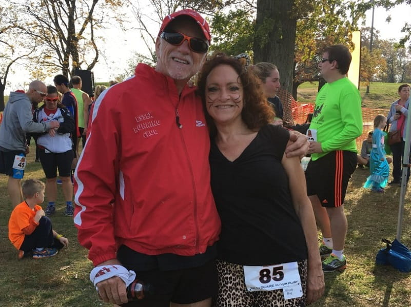 Tom and Martta Kelly after a Halloween 5K near their home in New Jersey. (Photo courtesy of Martta Kelly)