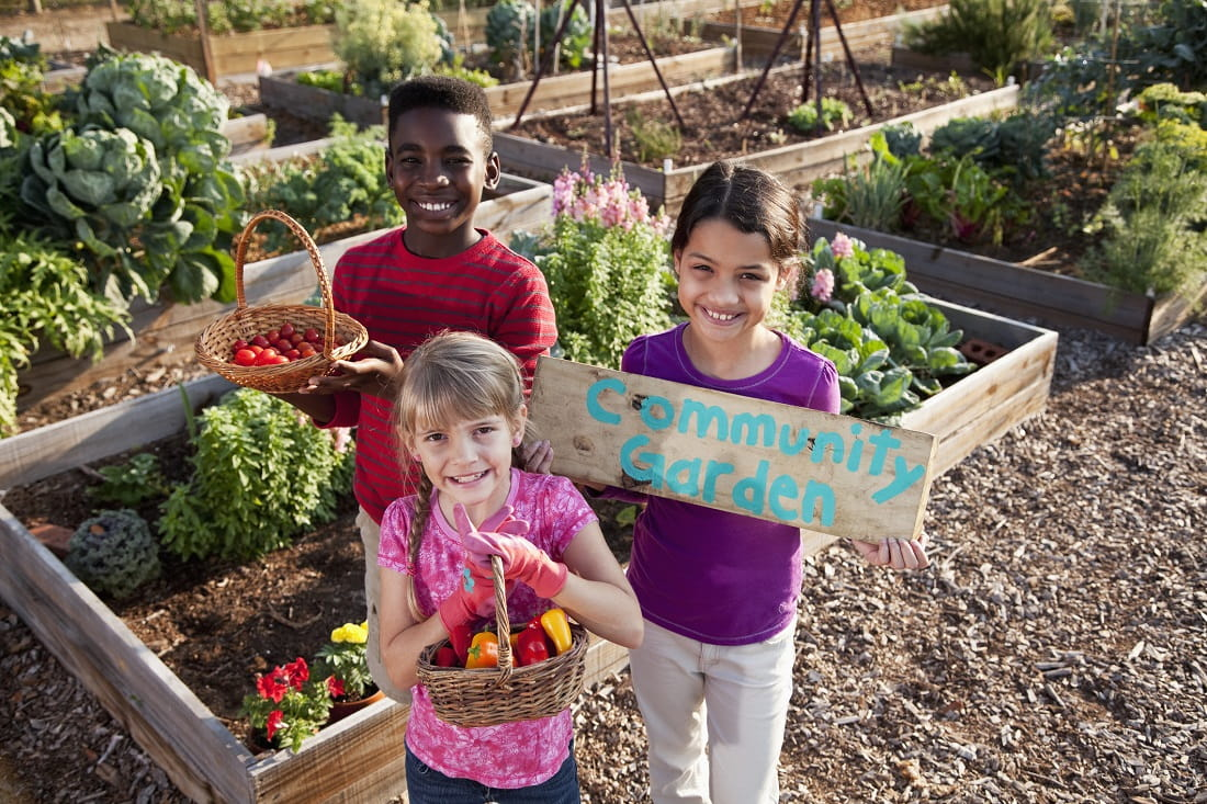 diverse kids smiling in gardens