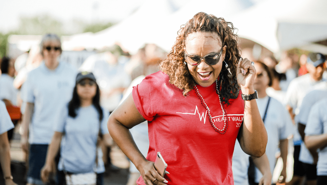 woman having fun at Heart Walk
