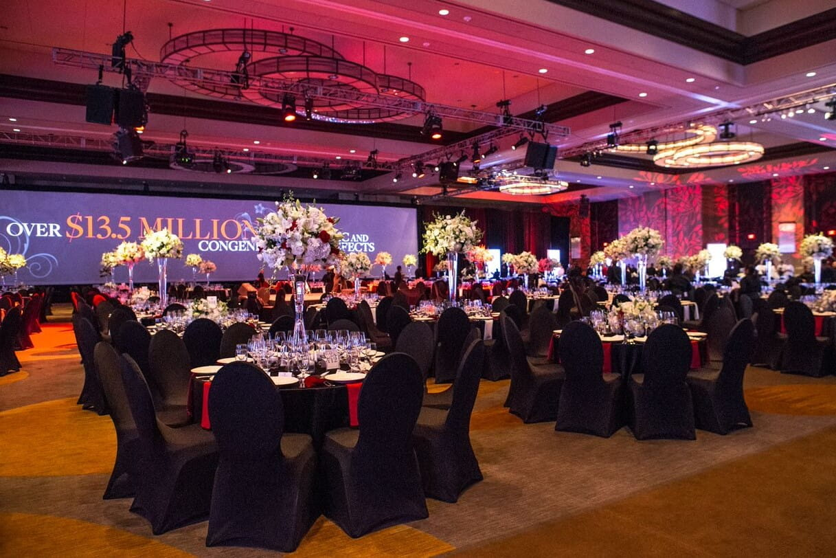ballroom with tables set