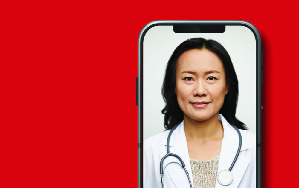 female physician on a smart phone