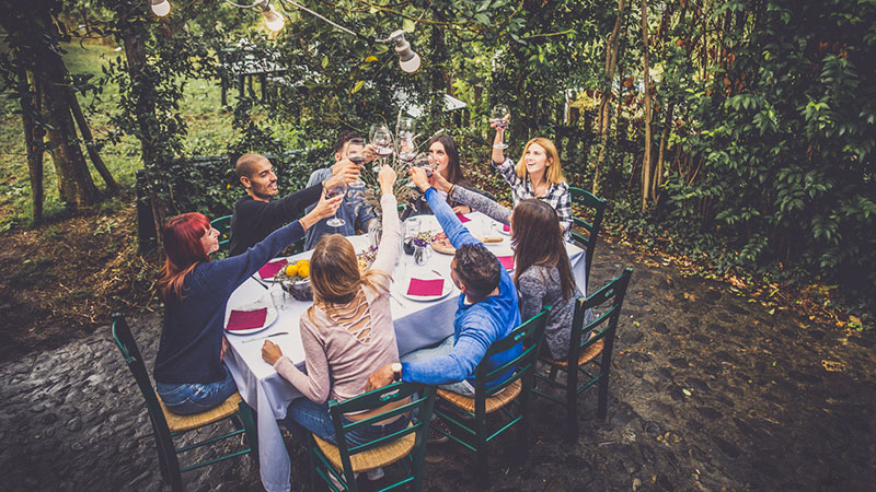 Group of friends at outdoor dinner party toasting