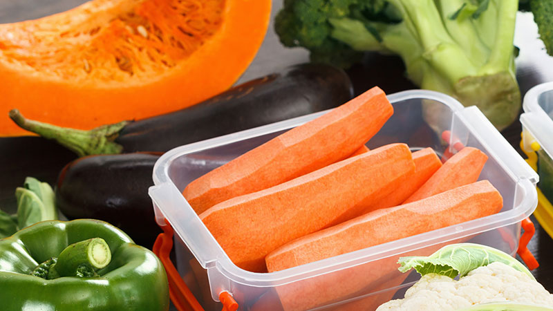 leftover vegetables in storage containers