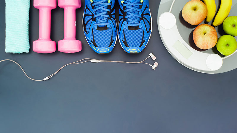 healthy snacks and workout equipment