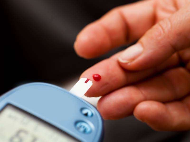 Finger prick: testing blood for insulin
