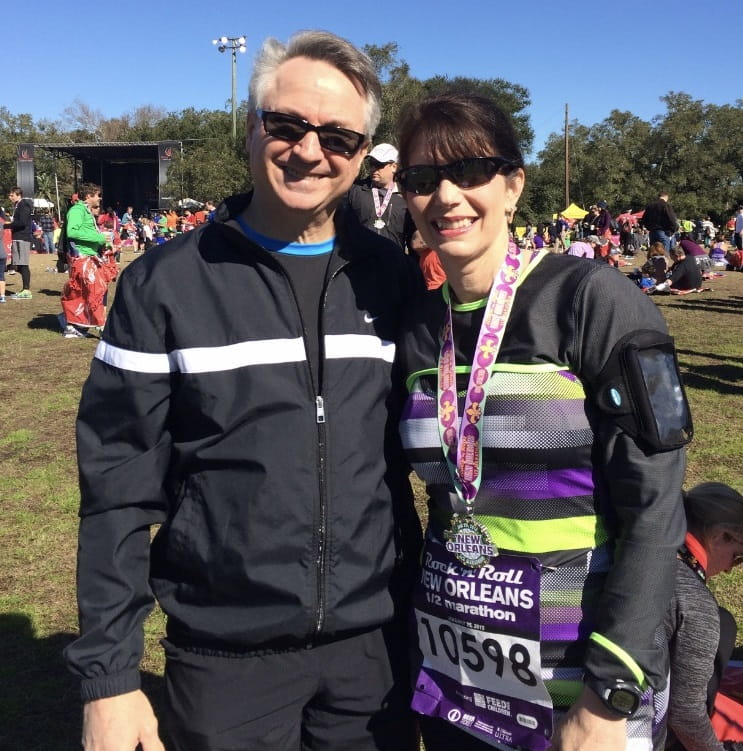 Ten years after her heart transplant, Toni Wild has moved from 5ks to marathons. Wild with husband, Jim. (Photo courtesy of Toni Wild)