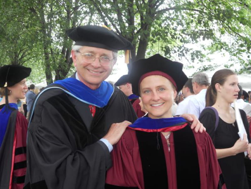 Tom Broussard (left), at daughter Josiane's Ph.D. graduation, survived heart bypass surgery, stroke and heart valve disease. (Photo courtesy of Tom Broussard)