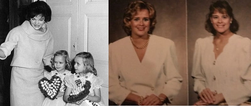 Left photo: First lady Jackie Kennedy with Debbie and Donna Horst as children. Right photo: Donna and Debbie as adults.