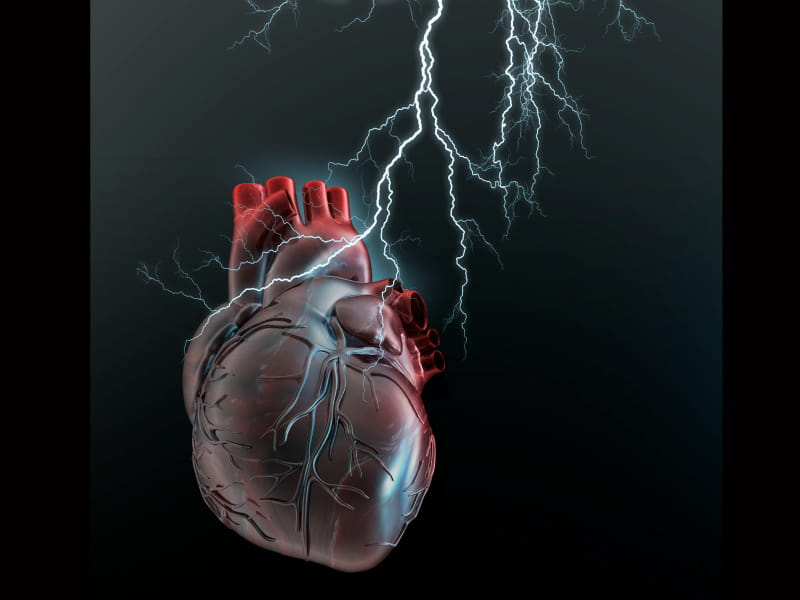 Heart being hit by lightning