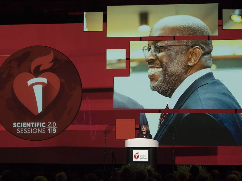Nancy Brown pays tribute to Bernard J. Tyson, CEO of Kaiser Permanente, and member of the American Heart Association Board of Directors. (AHA/Phil McCarten 2019)
