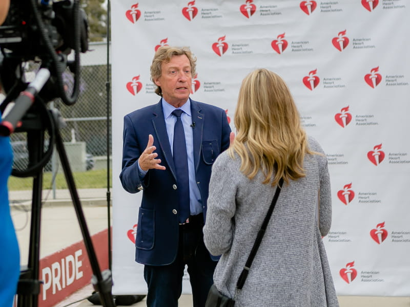 "Heart attack survivor and ""So You Think You Can Dance"" judge Nigel Lythgoe at an American Heart Challenge event in San Diego in May. (Photo by Sheri Tennison Berg for AHA)"