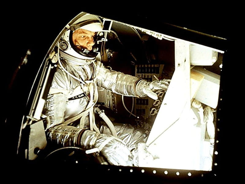 Astronaut John Glenn in January 1962, training for the Mercury-Atlas 6 mission one month later, during which he orbited Earth three times. (NASA)