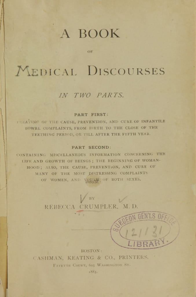 The cover of a medical book written by Dr. Rebecca Lee Crumpler. (From the U.S. National Library of Medicine)