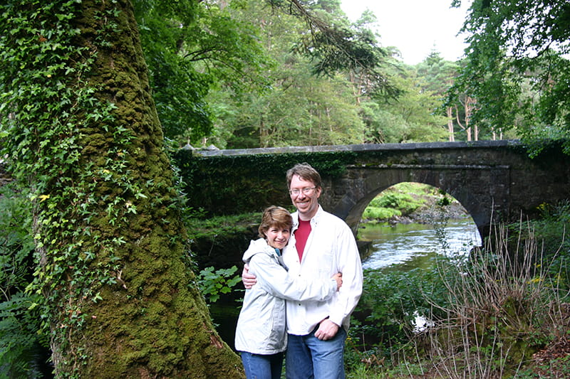 Doug Behan and Lise Deguire on the grounds of Ballynahinch Castle in Connemara, Ireland in July 2009. (Photo courtesy of Lise Deguire)