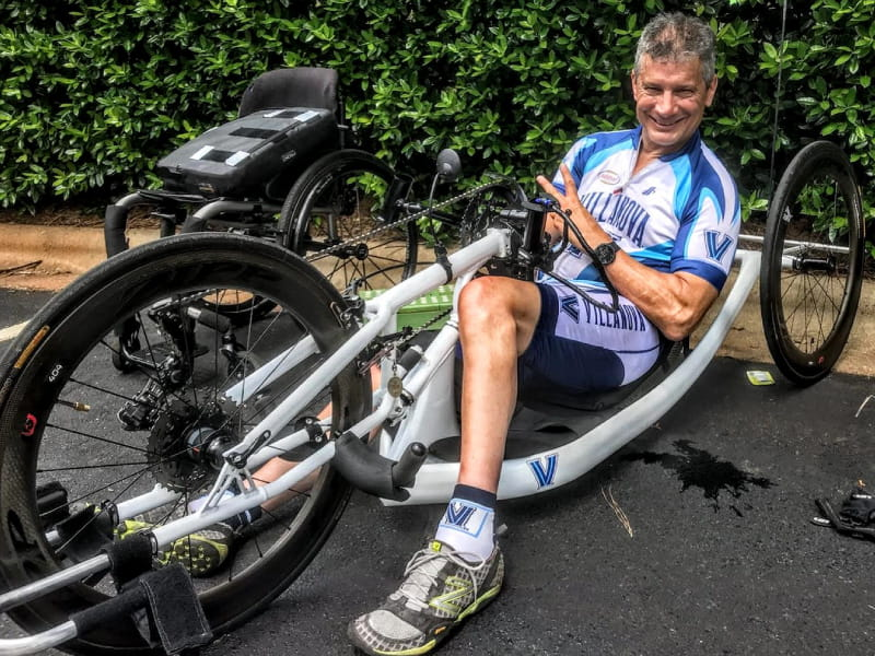 A marathoner before his spinal stroke, Brian Muscarella now competes using a hand-powered bicycle. (Photo courtesy of Brian Muscarella)