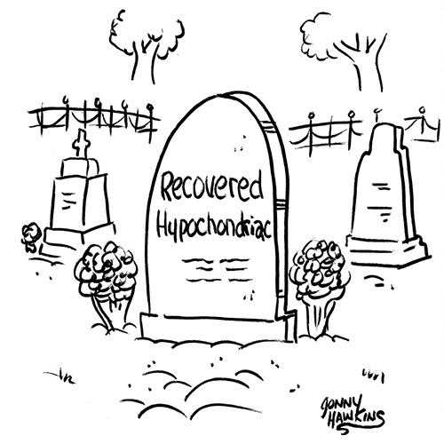Tombstone stating Recovered Hypochondriac