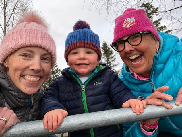 Olympic gold medalist Kikkan Randall, son Breck and mom Deborah Randall