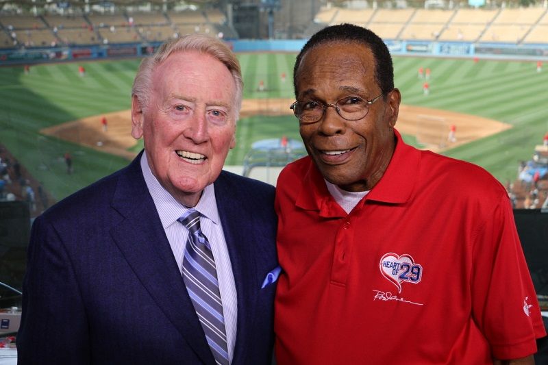 Rod Carew with Dodger's broadcaster Vin Scully at Dodger Stadium.