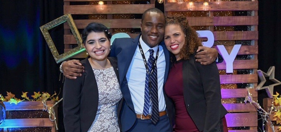 From left, urban business storytelling competition winners Maria Rose Belding, Cecil Wilson and Nyasha Nyamapfene at the awards ceremony in Washington, D.C., last October.
