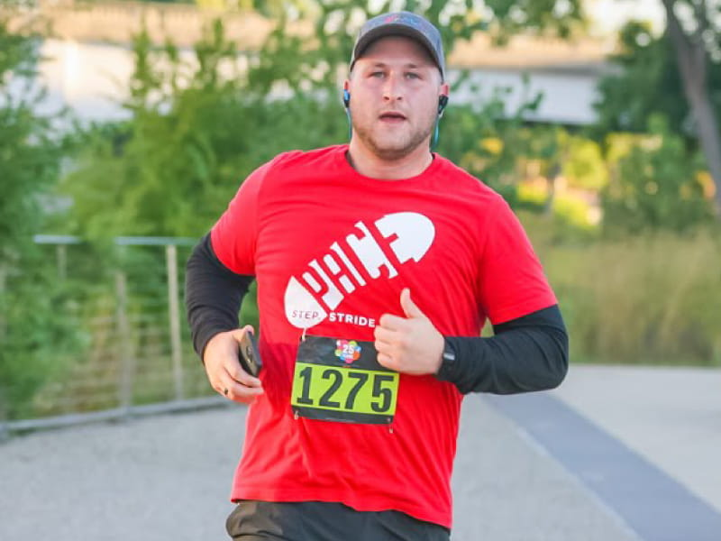 Erik Minaya participated in the Capital City River Run in Lansing, Michigan.