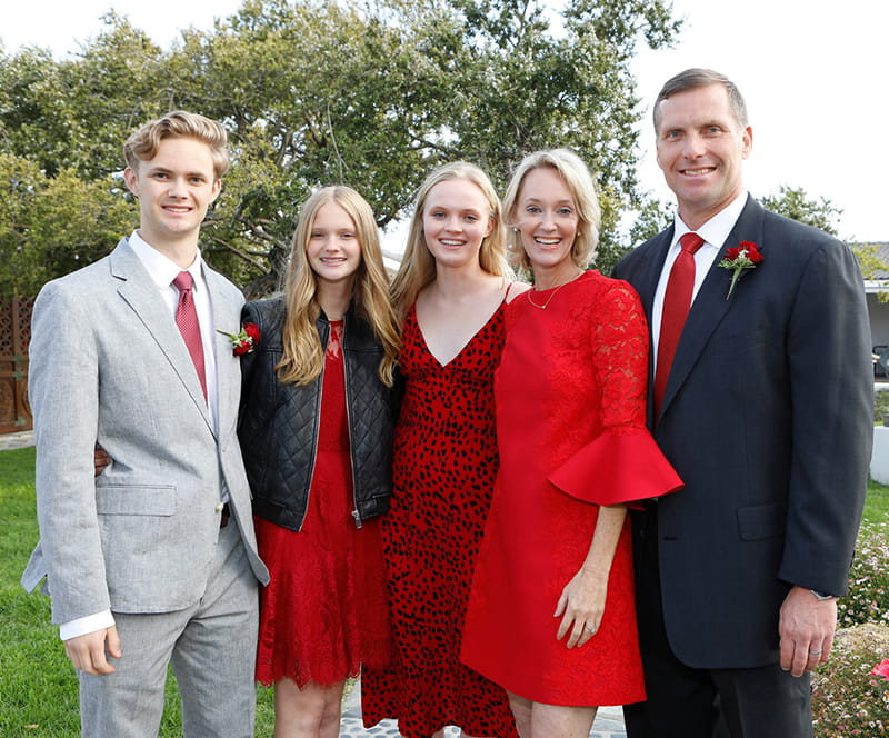 Ben Blankenhorn with his family at a 2019 heart event in Santa Barbara, California. From left: Ben, sisters Lily and Grace, mom Kim, and dad Chip. (American Heart Association)