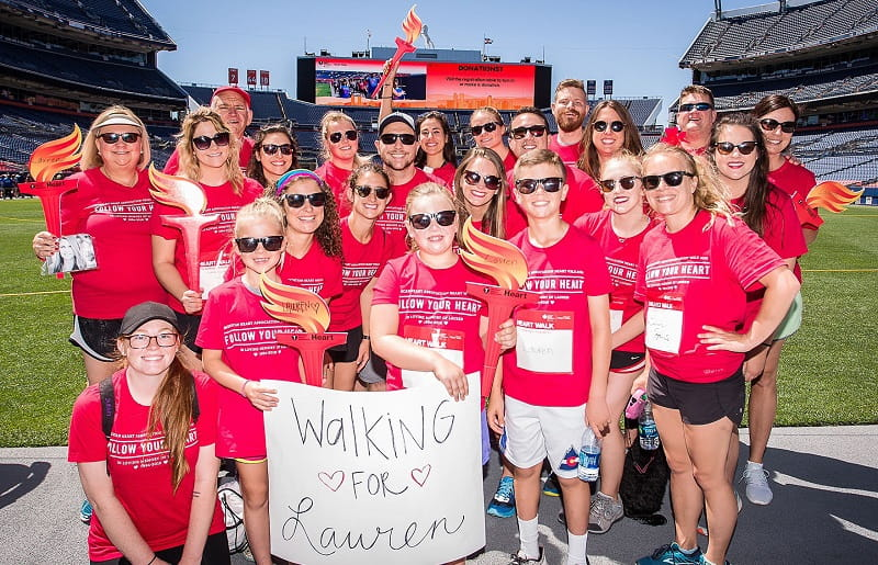 "Family and friends honored Lauren Harris by participating in Heart Walks in several cities. Here ""Walking for Lauren"" at the Denver 2018 Heart Walk."